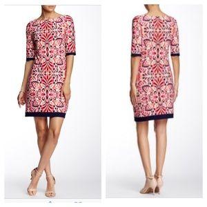 Floral Shift Dress pink Navy Trim Eliza J Sz 0